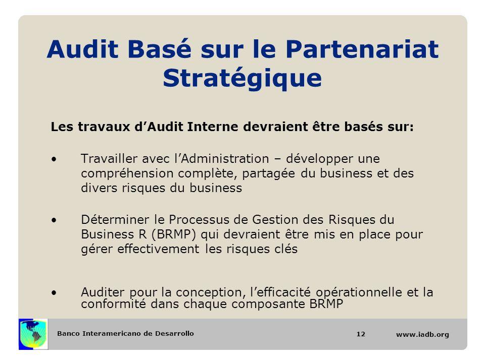 Banco Interamericano de Desarrollo www.iadb.org Audit Basé sur le Partenariat Stratégique Les travaux dAudit Interne devraient être basés sur: Travail