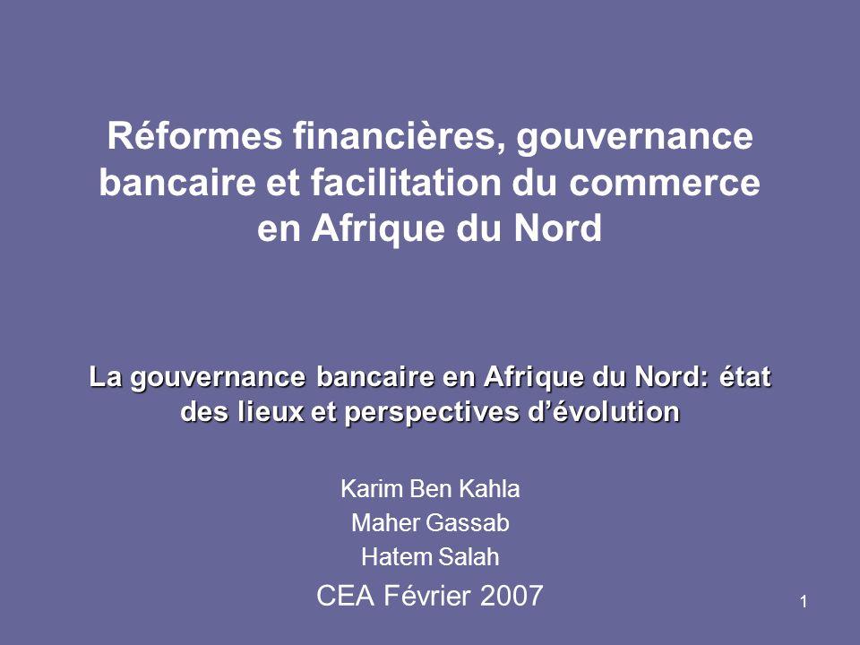 1 La gouvernance bancaire en Afrique du Nord: état des lieux et perspectives dévolution Réformes financières, gouvernance bancaire et facilitation du