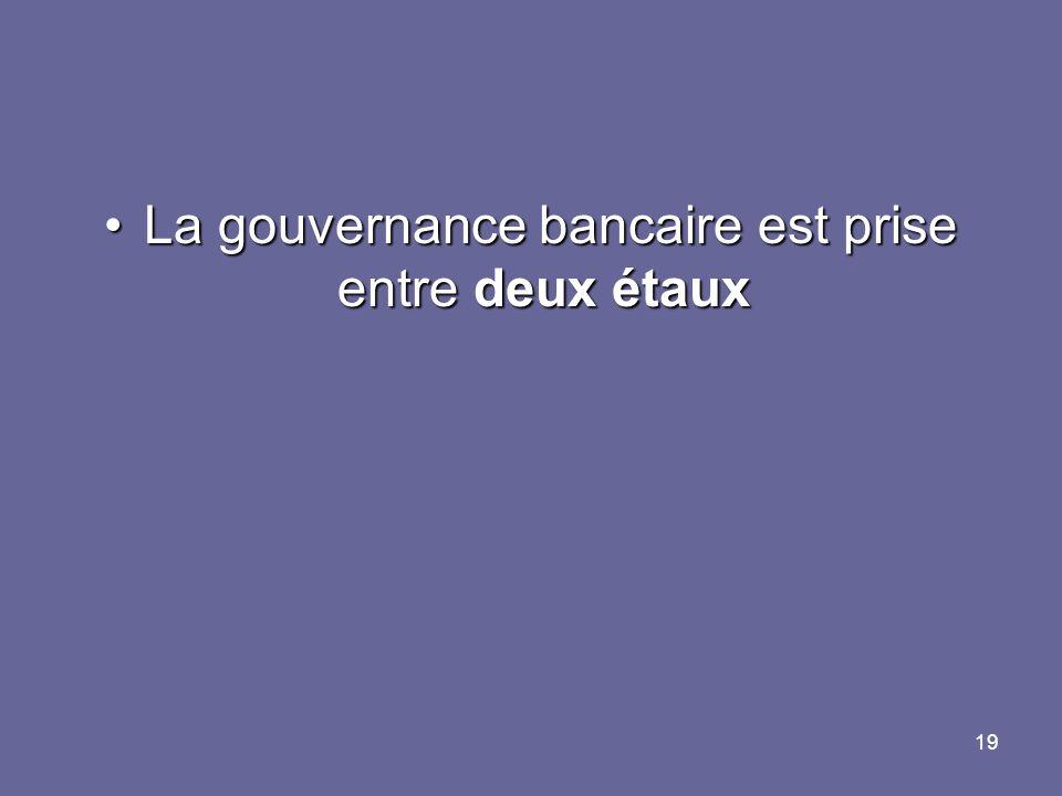 19 La gouvernance bancaire est prise entre deux étauxLa gouvernance bancaire est prise entre deux étaux