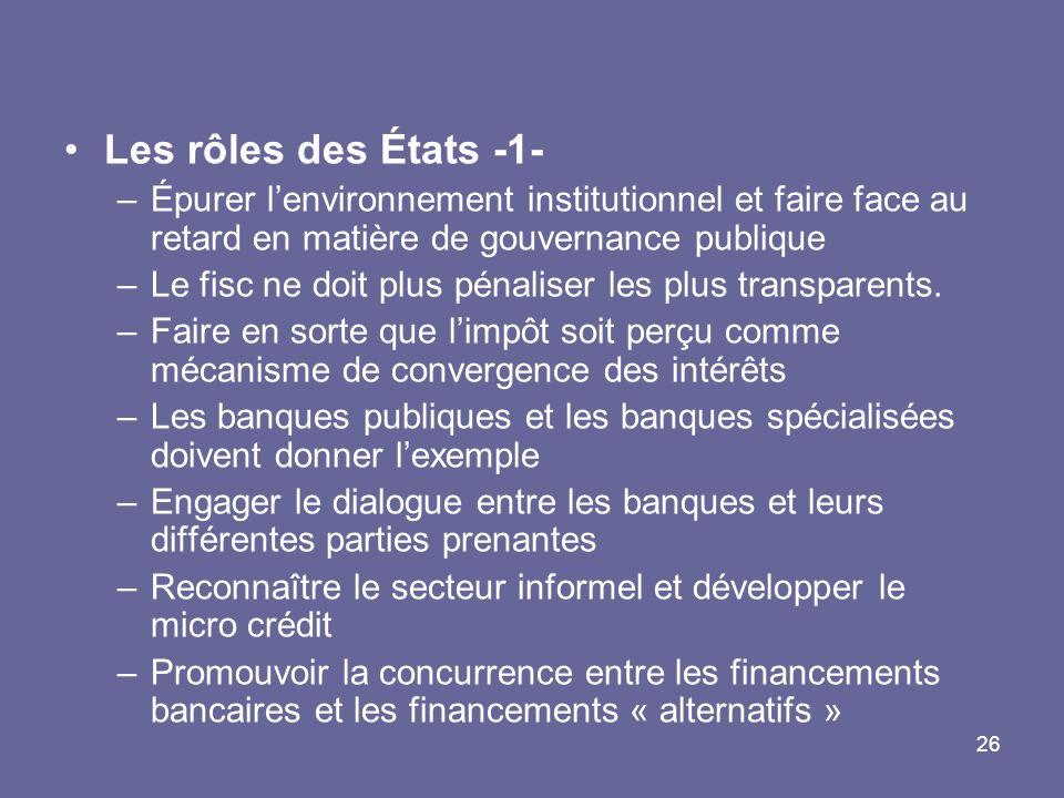 26 Les rôles des États -1- –Épurer lenvironnement institutionnel et faire face au retard en matière de gouvernance publique –Le fisc ne doit plus pénaliser les plus transparents.
