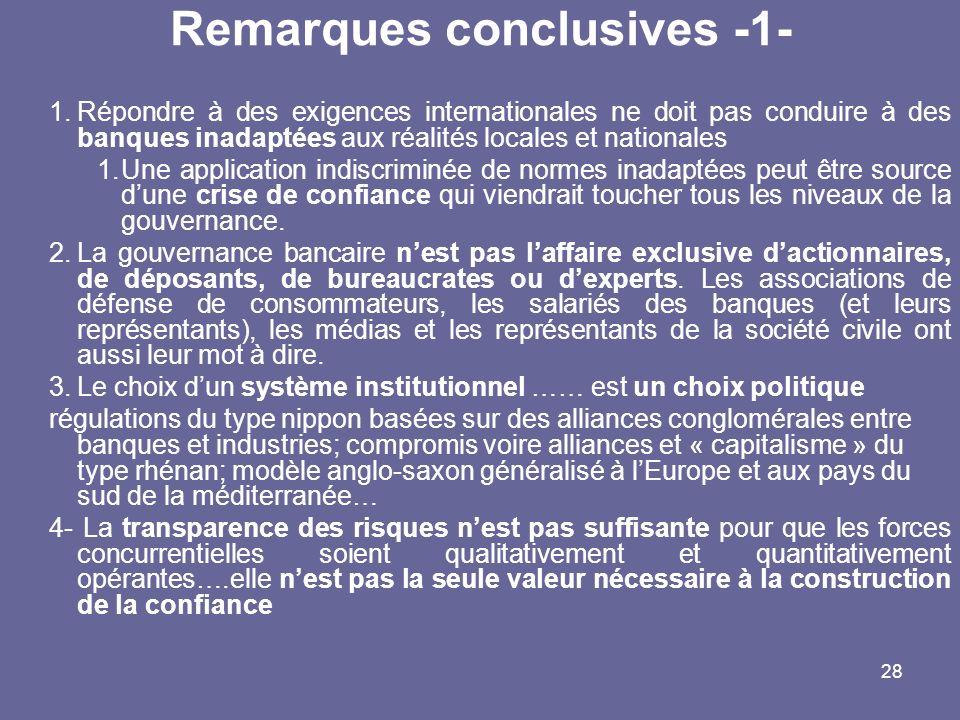 28 Remarques conclusives -1- 1.Répondre à des exigences internationales ne doit pas conduire à des banques inadaptées aux réalités locales et national