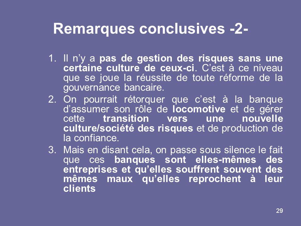 29 Remarques conclusives -2- 1.Il ny a pas de gestion des risques sans une certaine culture de ceux-ci.