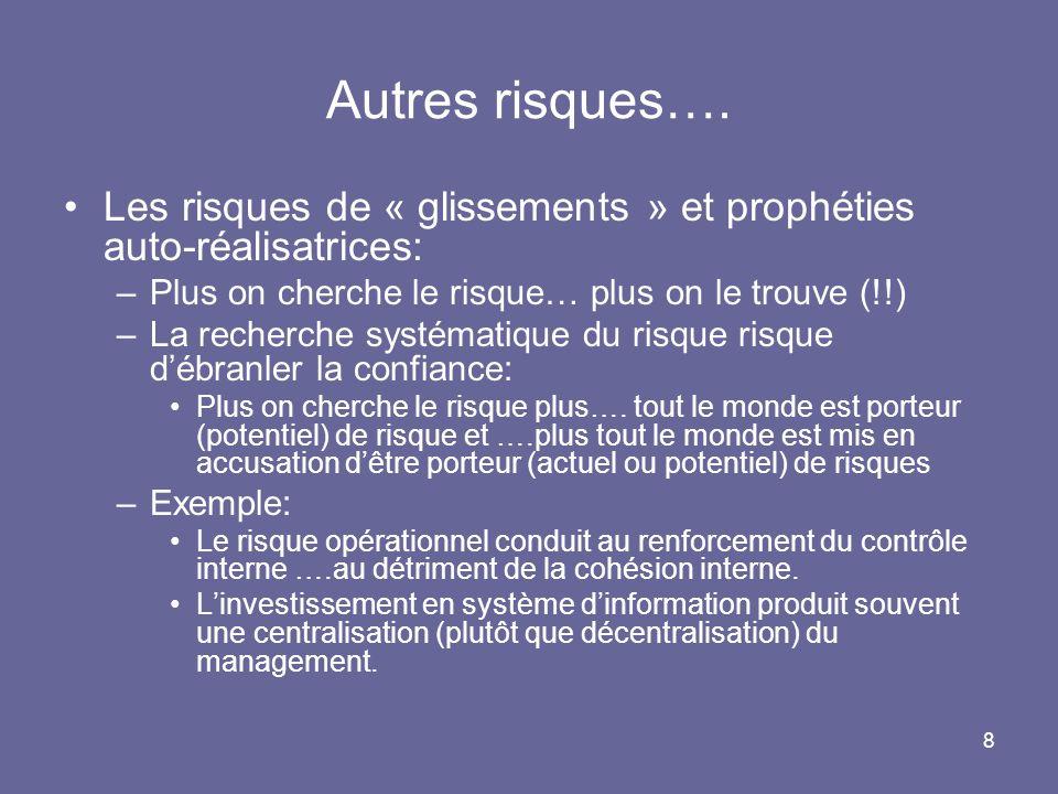 8 Autres risques…. Les risques de « glissements » et prophéties auto-réalisatrices: –Plus on cherche le risque… plus on le trouve (!!) –La recherche s