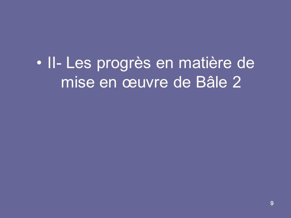 9 II- Les progrès en matière de mise en œuvre de Bâle 2