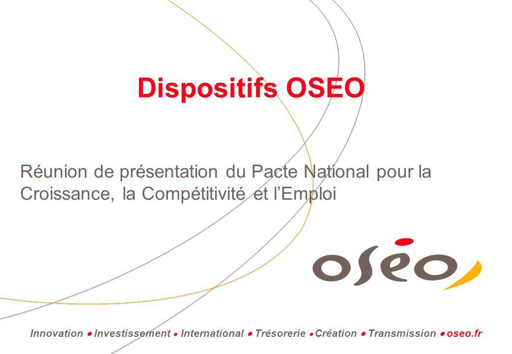 Dispositifs OSEO Réunion de présentation du Pacte National pour la Croissance, la Compétitivité et lEmploi Innovation Investissement International Trésorerie Création Transmission oseo.fr