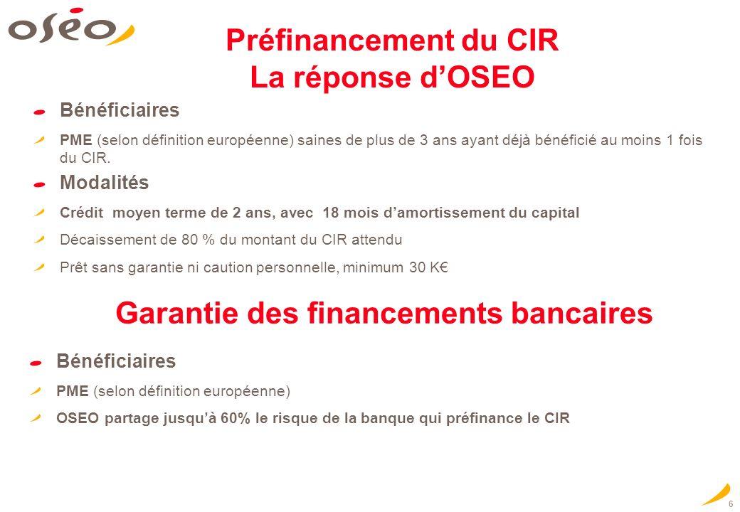 Préfinancement du CIR La réponse dOSEO Bénéficiaires PME (selon définition européenne) saines de plus de 3 ans ayant déjà bénéficié au moins 1 fois du CIR.