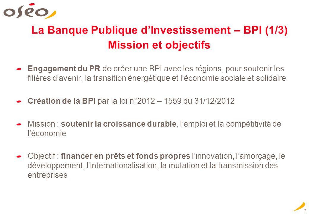 7 La Banque Publique dInvestissement – BPI (1/3) Mission et objectifs Engagement du PR de créer une BPI avec les régions, pour soutenir les filières davenir, la transition énergétique et léconomie sociale et solidaire Création de la BPI par la loi n°2012 – 1559 du 31/12/2012 Mission : soutenir la croissance durable, lemploi et la compétitivité de léconomie Objectif : financer en prêts et fonds propres linnovation, lamorçage, le développement, linternationalisation, la mutation et la transmission des entreprises