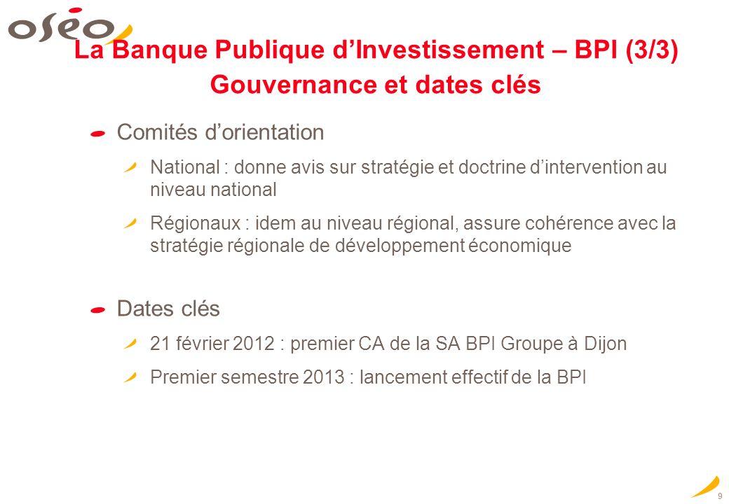 9 La Banque Publique dInvestissement – BPI (3/3) Gouvernance et dates clés Comités dorientation National : donne avis sur stratégie et doctrine dinter