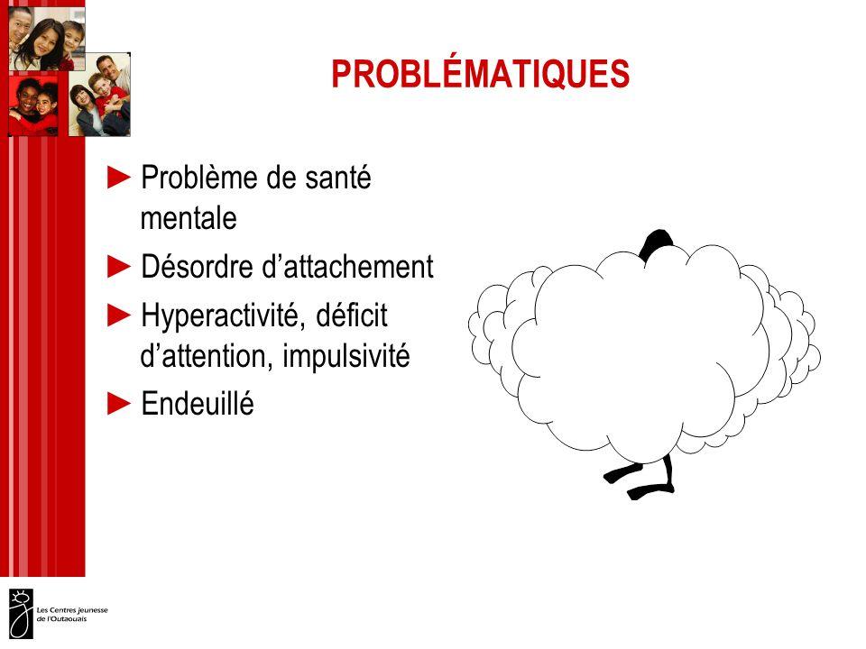 PROBLÉMATIQUES Problème de santé mentale Désordre dattachement Hyperactivité, déficit dattention, impulsivité Endeuillé