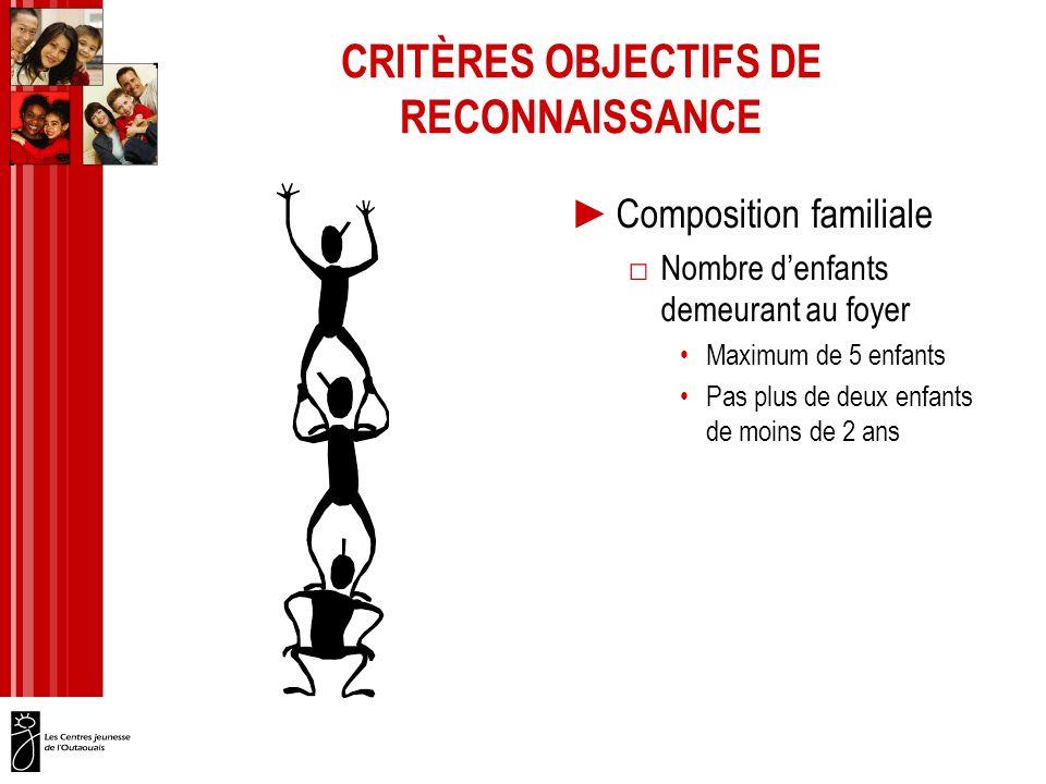 CRITÈRES OBJECTIFS DE RECONNAISSANCE Composition familiale Nombre denfants demeurant au foyer Maximum de 5 enfants Pas plus de deux enfants de moins de 2 ans