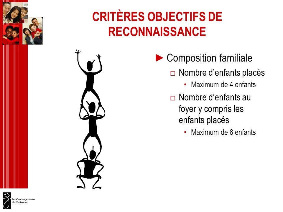 CRITÈRES OBJECTIFS DE RECONNAISSANCE Composition familiale Nombre denfants placés Maximum de 4 enfants Nombre denfants au foyer y compris les enfants placés Maximum de 6 enfants