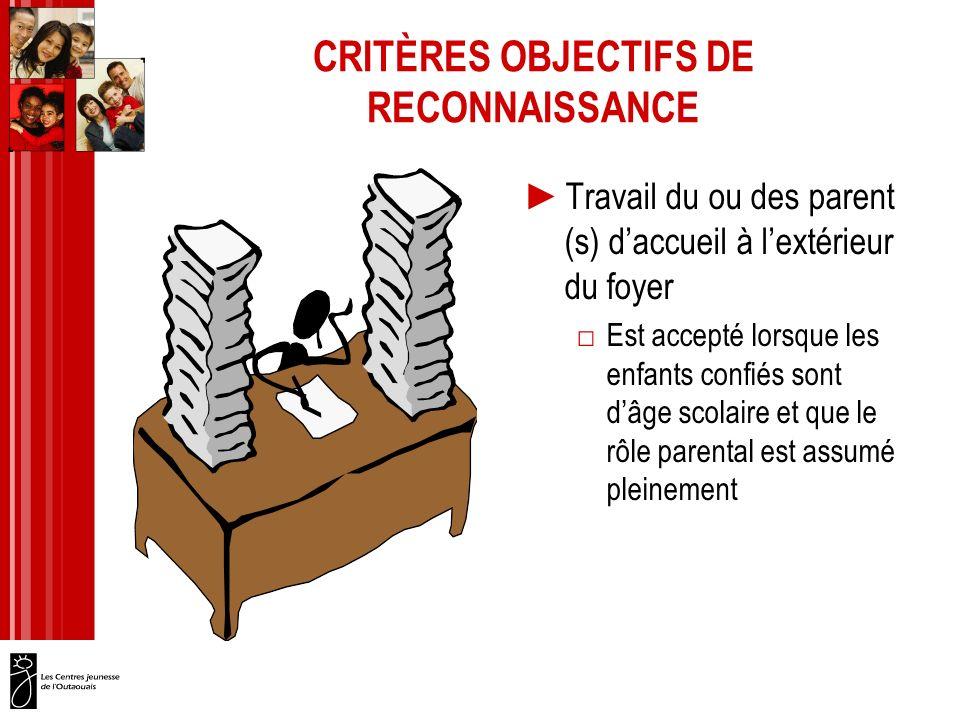 CRITÈRES OBJECTIFS DE RECONNAISSANCE Travail du ou des parent (s) daccueil à lextérieur du foyer Est accepté lorsque les enfants confiés sont dâge scolaire et que le rôle parental est assumé pleinement