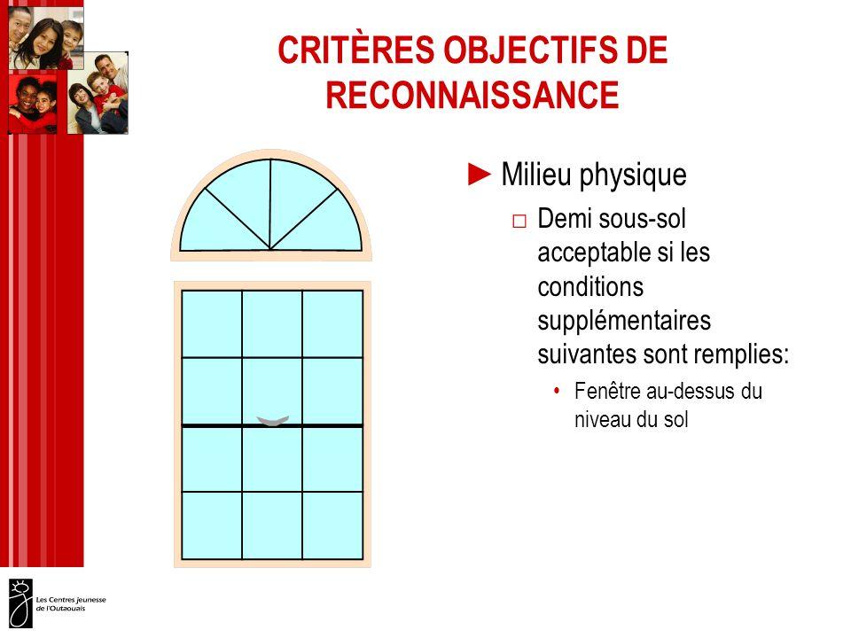 CRITÈRES OBJECTIFS DE RECONNAISSANCE Milieu physique Demi sous-sol acceptable si les conditions supplémentaires suivantes sont remplies: Fenêtre au-dessus du niveau du sol