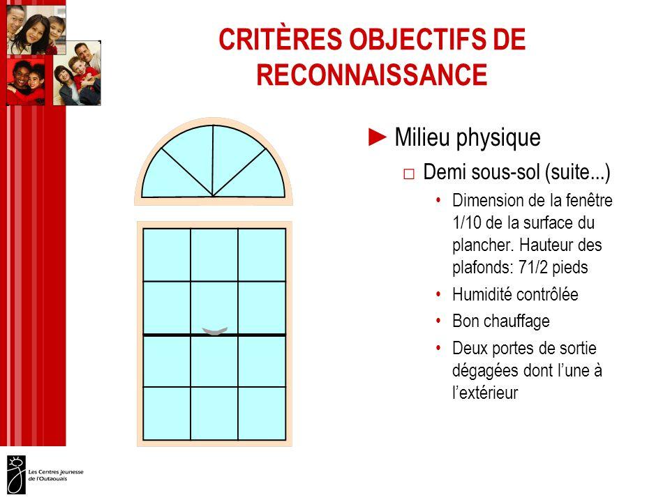 CRITÈRES OBJECTIFS DE RECONNAISSANCE Milieu physique Demi sous-sol (suite...) Dimension de la fenêtre 1/10 de la surface du plancher.