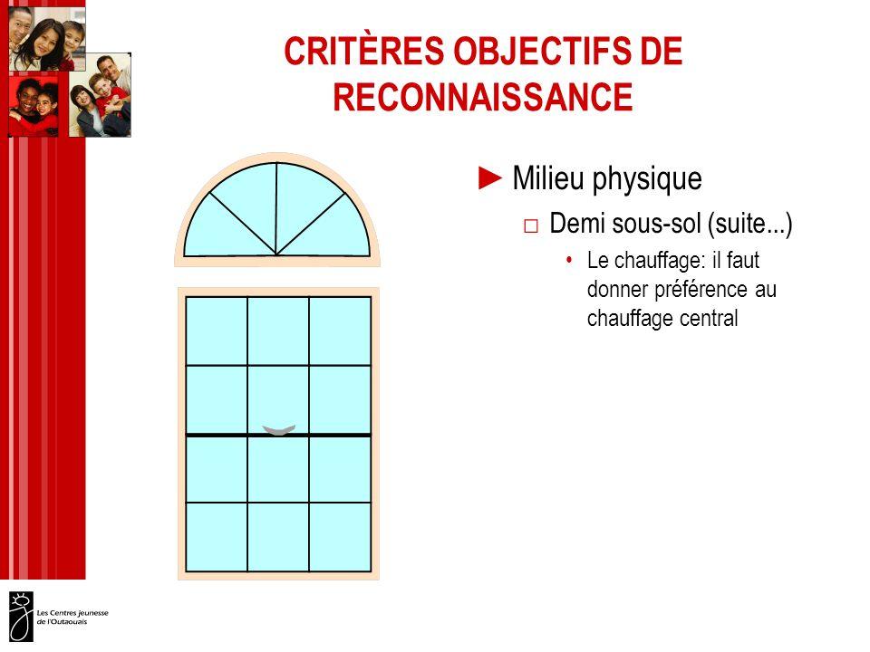 CRITÈRES OBJECTIFS DE RECONNAISSANCE Milieu physique Demi sous-sol (suite...) Le chauffage: il faut donner préférence au chauffage central