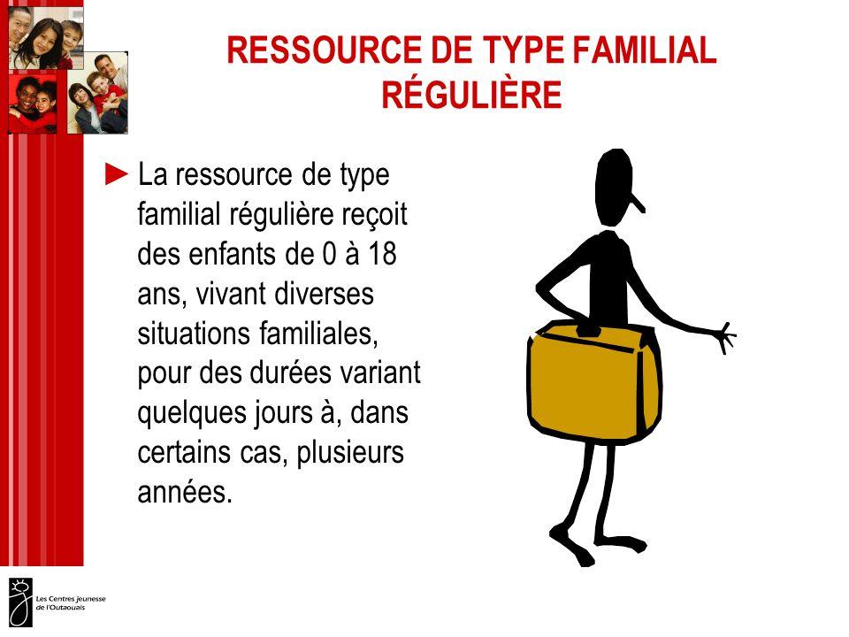 RESSOURCE DE TYPE FAMILIAL RÉGULIÈRE La ressource de type familial régulière reçoit des enfants de 0 à 18 ans, vivant diverses situations familiales, pour des durées variant quelques jours à, dans certains cas, plusieurs années.
