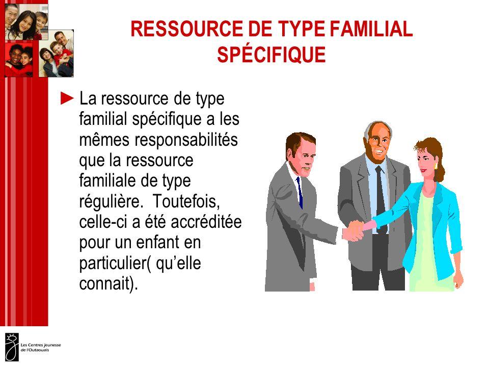 RESSOURCE DE TYPE FAMILIAL SPÉCIFIQUE La ressource de type familial spécifique a les mêmes responsabilités que la ressource familiale de type régulière.