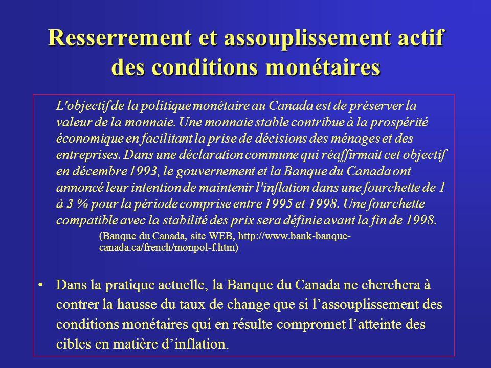 Resserrement et assouplissement actif des conditions monétaires L objectif de la politique monétaire au Canada est de préserver la valeur de la monnaie.