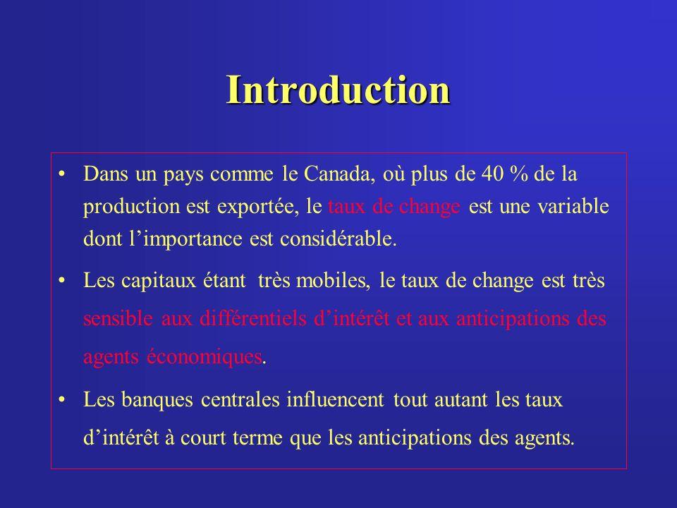 Introduction Dans un pays comme le Canada, où plus de 40 % de la production est exportée, le taux de change est une variable dont limportance est considérable.