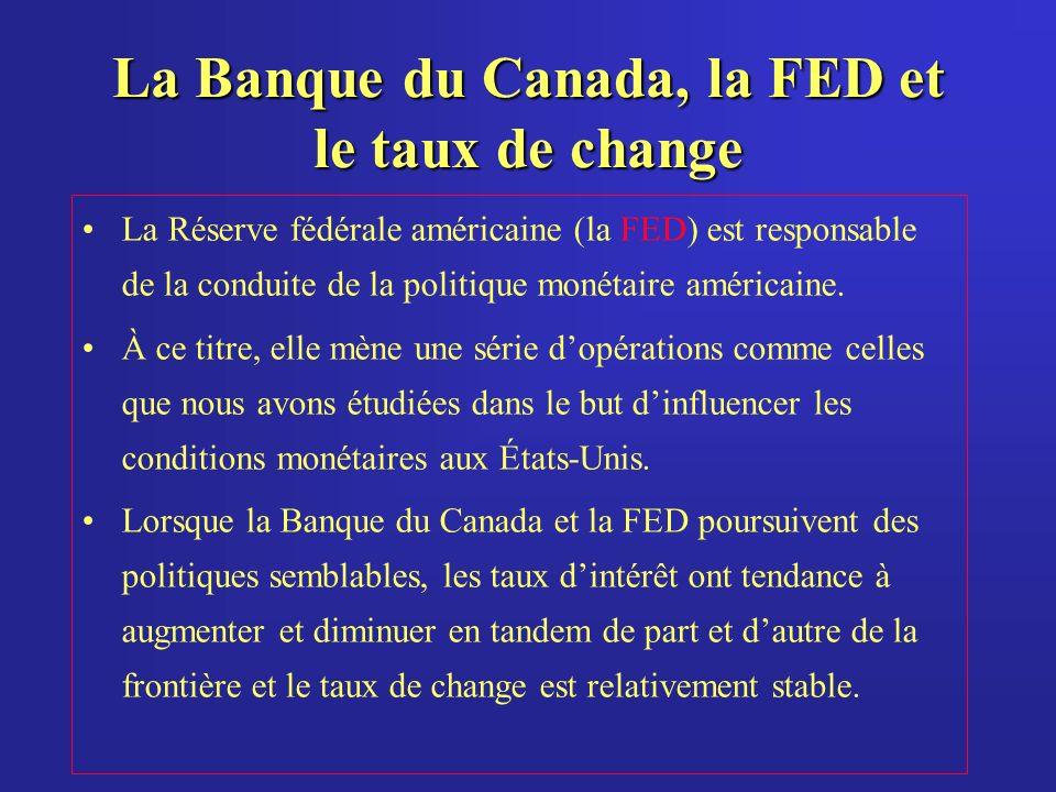 La Banque du Canada, la FED et le taux de change La Réserve fédérale américaine (la FED) est responsable de la conduite de la politique monétaire américaine.