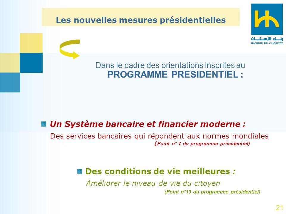 21 : Dans le cadre des orientations inscrites au PROGRAMME PRESIDENTIEL : Un Système bancaire et financier moderne : Des services bancaires qui répond