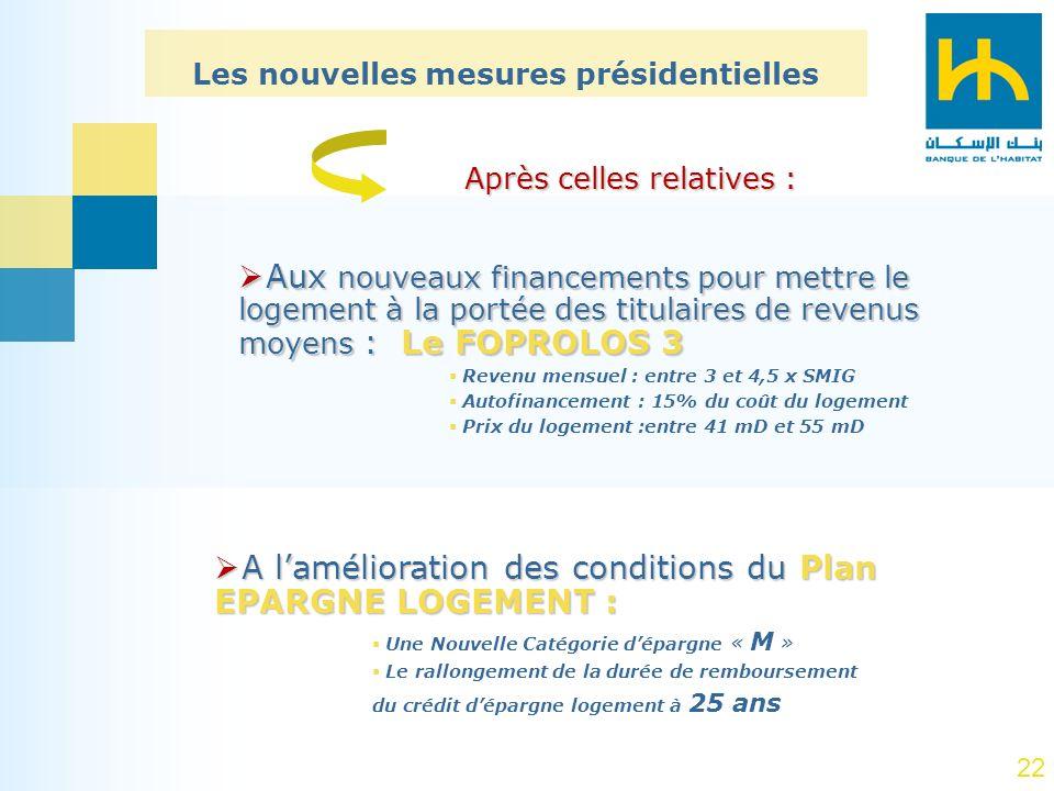 22 A lamélioration des conditions du Plan EPARGNE LOGEMENT : A lamélioration des conditions du Plan EPARGNE LOGEMENT : Une Nouvelle Catégorie dépargne