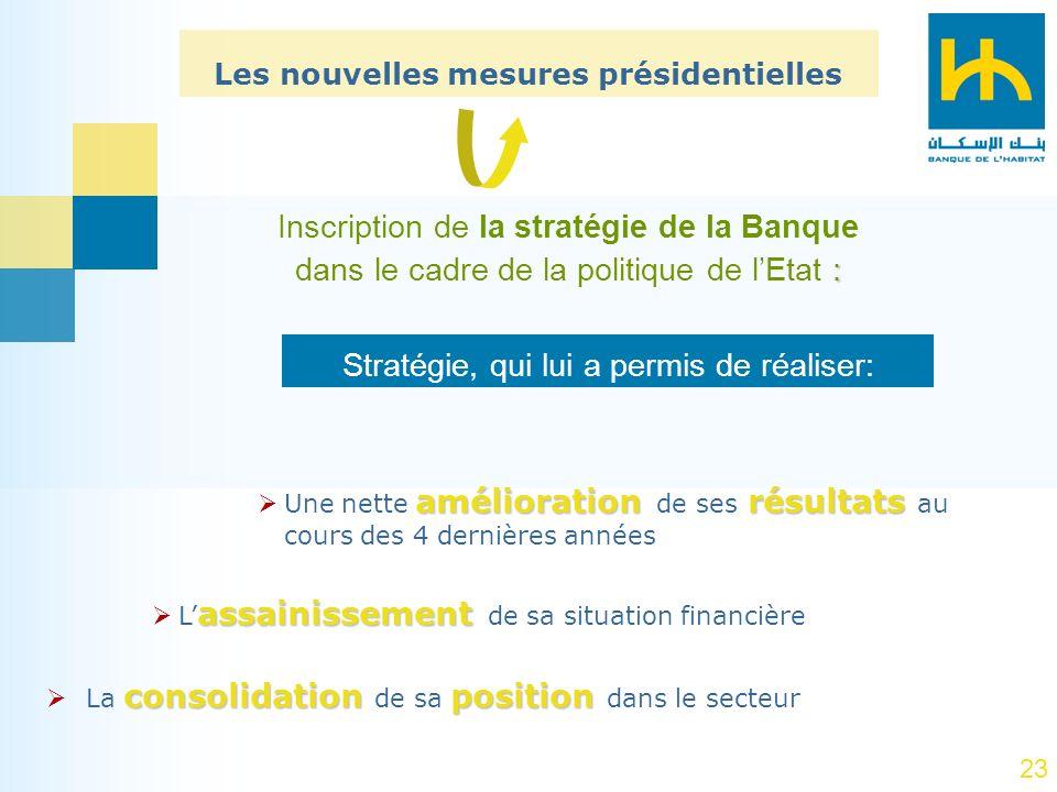 23 Inscription de la stratégie de la Banque : dans le cadre de la politique de lEtat : Les nouvelles mesures présidentielles amélioration résultats Un