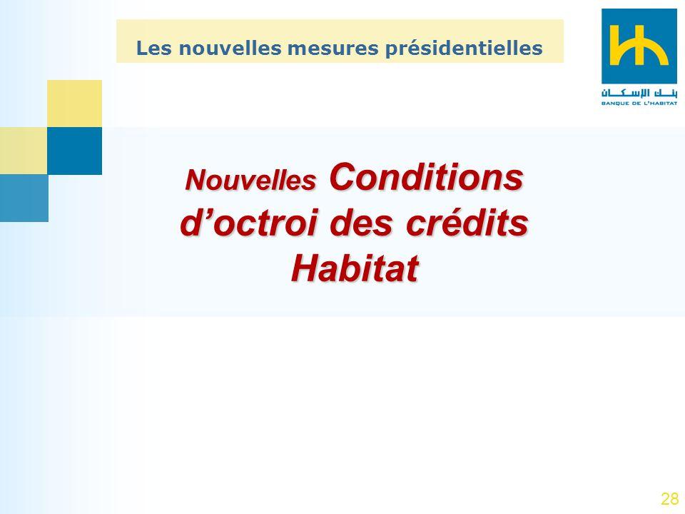 28 Nouvelles Conditions doctroi des crédits Habitat Les nouvelles mesures présidentielles