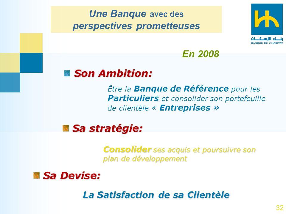 32 Son Ambition: Sa stratégie: Sa stratégie: Être la Banque de Référence pour les Particuliers et consolider son portefeuille de clientèle « Entrepris