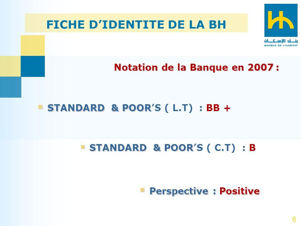 6 Notation de la Banque en 2007: Notation de la Banque en 2007 : STANDARD & POOR STANDARD & POORS ( L.T) : BB + STANDARD & POOR STANDARD & POORS ( C.T