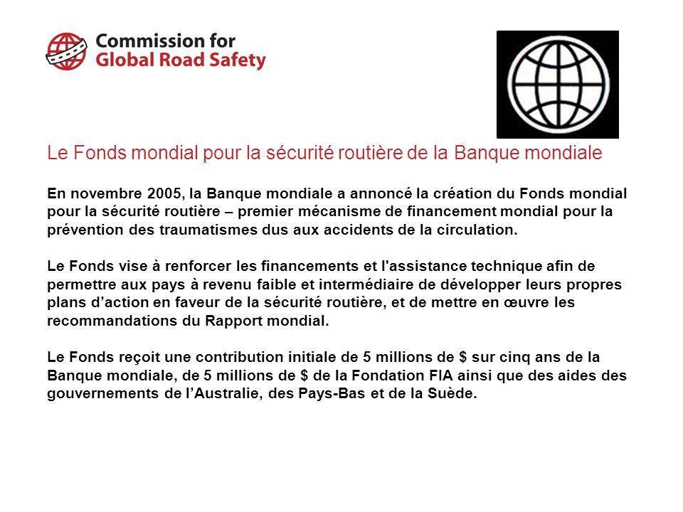 A propos de la Commission : Une commission indépendante de haut niveau présidée par Lord Robertson (ancien Secrétaire Général de lOTAN) et composée de membres issus de chacun des pays du G8 et des grandes régions du monde Soutenue par un groupe consultatif dexperts comprenant des représentants de lOMS, de la Banque mondiale, de lOCDE, de la CEE-ONU et d ONG Principaux objectifs : Encourager la mise en œuvre des recommandations du Rapport mondial sur la prévention des traumatismes dus à la circulation Proposer un Plan d Action pour la Sécurité routière mondiale