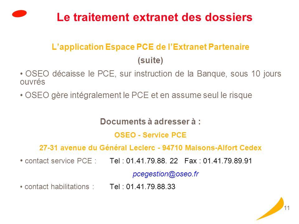 11 Le traitement extranet des dossiers Lapplication Espace PCE de lExtranet Partenaire (suite) OSEO décaisse le PCE, sur instruction de la Banque, sou