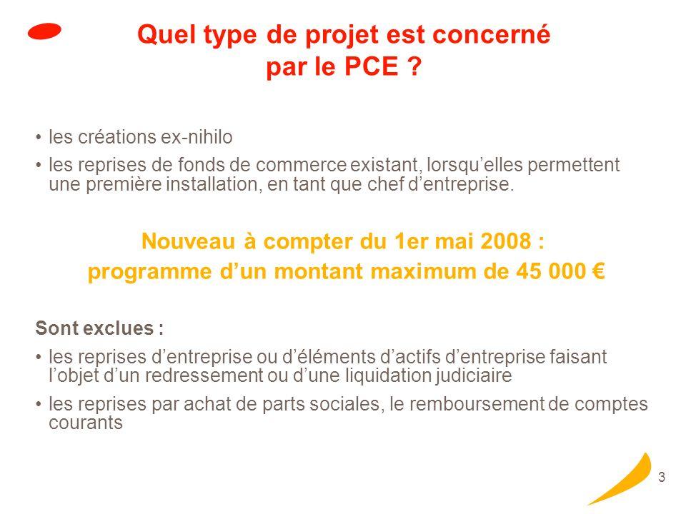 3 Quel type de projet est concerné par le PCE ? les créations ex-nihilo les reprises de fonds de commerce existant, lorsquelles permettent une premièr
