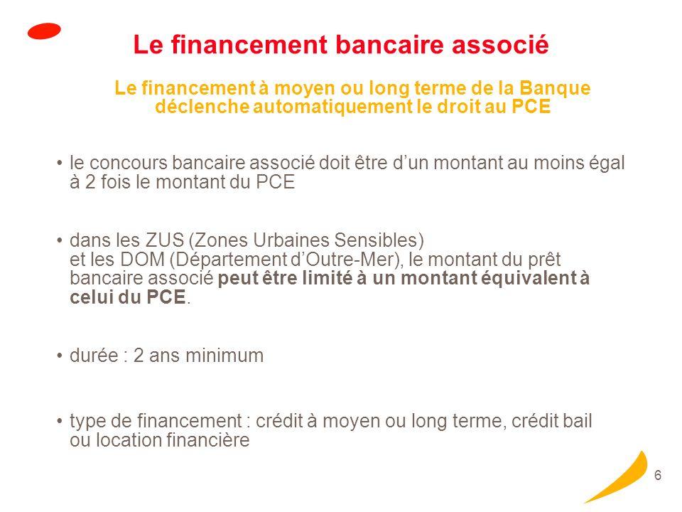 6 Le financement bancaire associé Le financement à moyen ou long terme de la Banque déclenche automatiquement le droit au PCE le concours bancaire ass