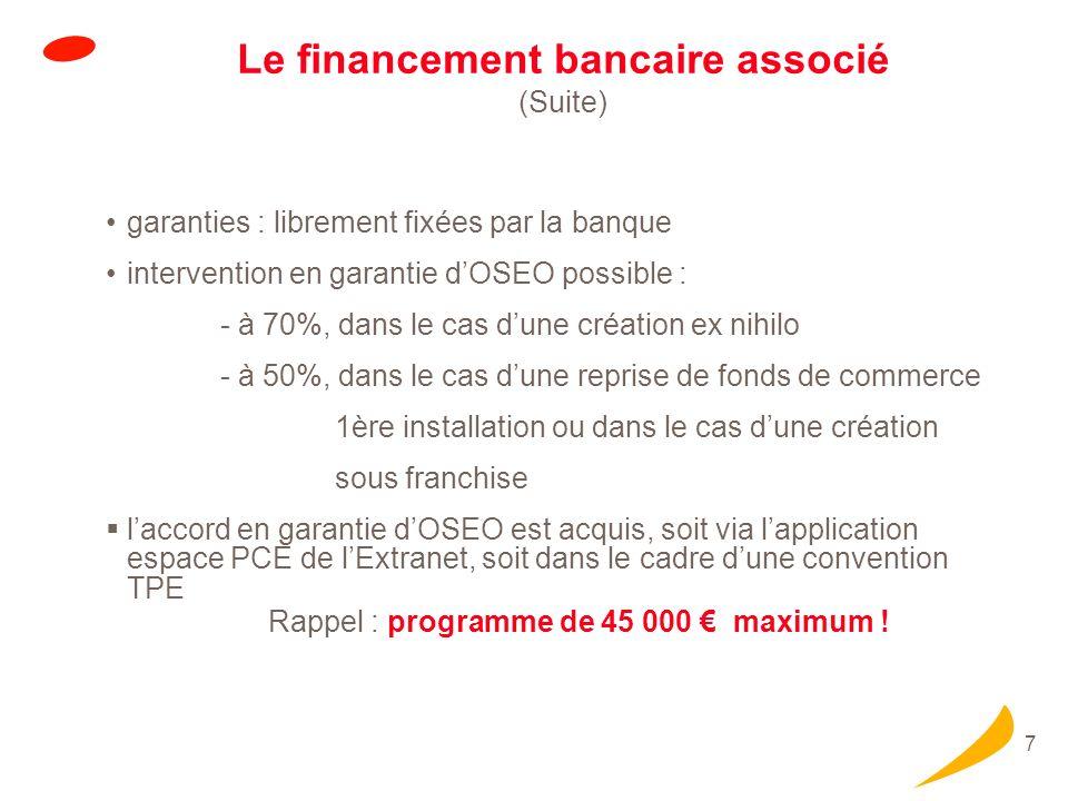 7 Le financement bancaire associé (Suite) garanties : librement fixées par la banque intervention en garantie dOSEO possible : - à 70%, dans le cas du