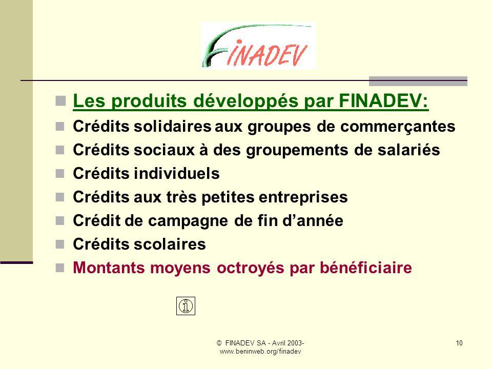© FINADEV SA - Avril 2003- www.beninweb.org/finadev 9 FINADEV SA a pour mission de simpliquer dans le secteur de la micro-finance au travers dune gamme de produits équilibrés, allant des crédits solidaires aux crédits classiques, sadressant à des cibles variées.