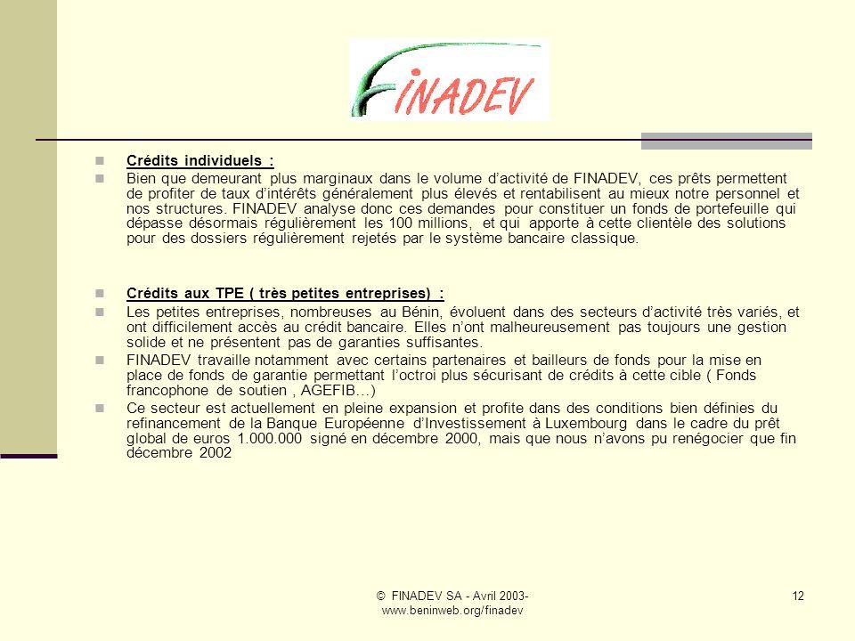 © FINADEV SA - Avril 2003- www.beninweb.org/finadev 11 Afin de mieux cerner les activités actuelles de FINADEV SA, nous détaillons ci-après les caractéristiques principales des produits proposés à notre clientèle et tenons à la suite nos statistiques à fin décembre 2002, date de fin du premier exercice social de notre société.