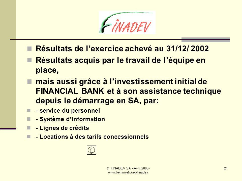 © FINADEV SA - Avril 2003- www.beninweb.org/finadev 23 Après dix huit mois dactivités en SA, FINADEV se positionne comme une structure majeure de la place, bien intégrée au sein du Consortium ALAFIA.