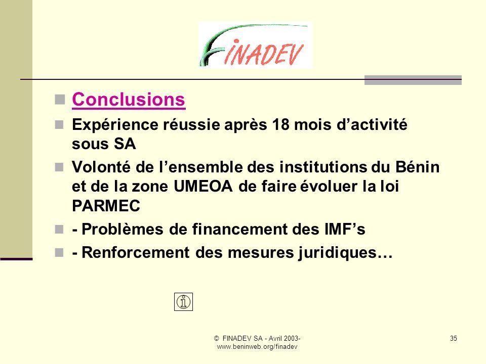© FINADEV SA - Avril 2003- www.beninweb.org/finadev 34 FINADEV SA– Stratégies de développement # 4 La volonté de nos actionnaires et partenaires proches est que le concept FINADEV, sous cette forme juridique, dans son esprit et dans le cadre des activités quelle développe, soit dupliqué dans dautres pays de la sous - région, en priorité dans ceux où le groupe FINANCIAL BANK est implanté, où désire lêtre à terme.