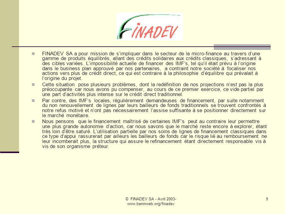 © FINADEV SA - Avril 2003- www.beninweb.org/finadev 8 Missions de FINADEV SA dans le secteur de la micro- finance Le financement des Institutions de micro- finance, problèmes posés au Bénin Désengagement progressif des bailleurs de fonds Difficultés daccèder à des financements sur le marché Relève des banques commerciales ?