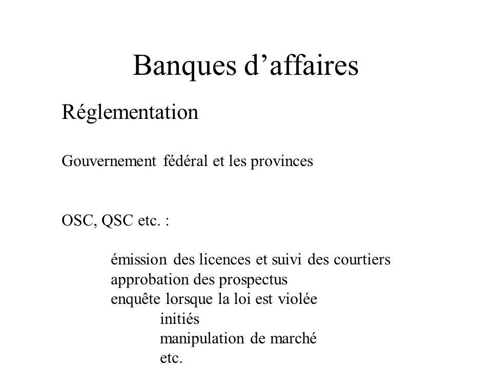 Réglementation Gouvernement fédéral et les provinces OSC, QSC etc.