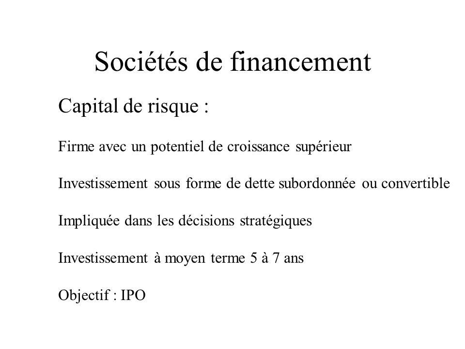 Sociétés de financement Capital de risque : Firme avec un potentiel de croissance supérieur Investissement sous forme de dette subordonnée ou convertible Impliquée dans les décisions stratégiques Investissement à moyen terme 5 à 7 ans Objectif : IPO