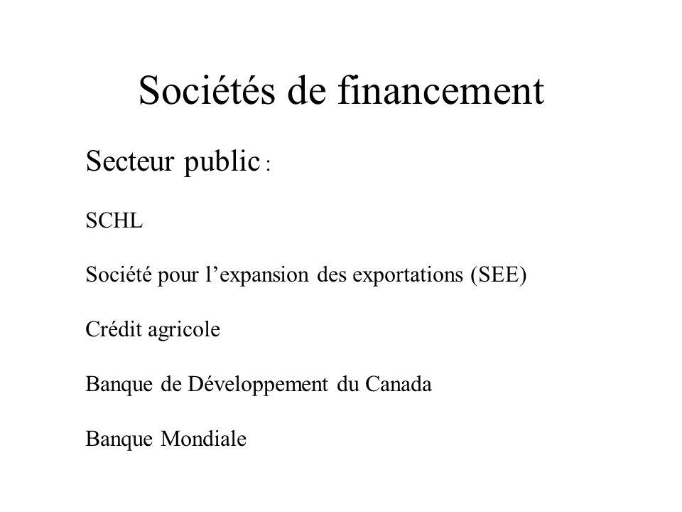 Sociétés de financement Secteur public : SCHL Société pour lexpansion des exportations (SEE) Crédit agricole Banque de Développement du Canada Banque Mondiale