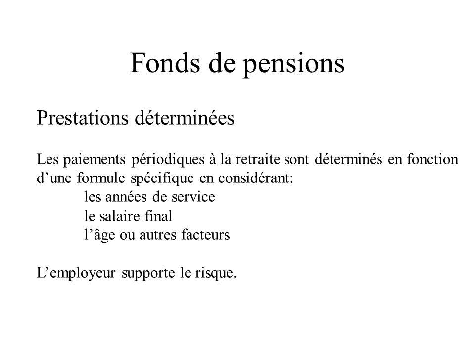 Fonds de pensions Prestations déterminées Les paiements périodiques à la retraite sont déterminés en fonction dune formule spécifique en considérant: les années de service le salaire final lâge ou autres facteurs Lemployeur supporte le risque.