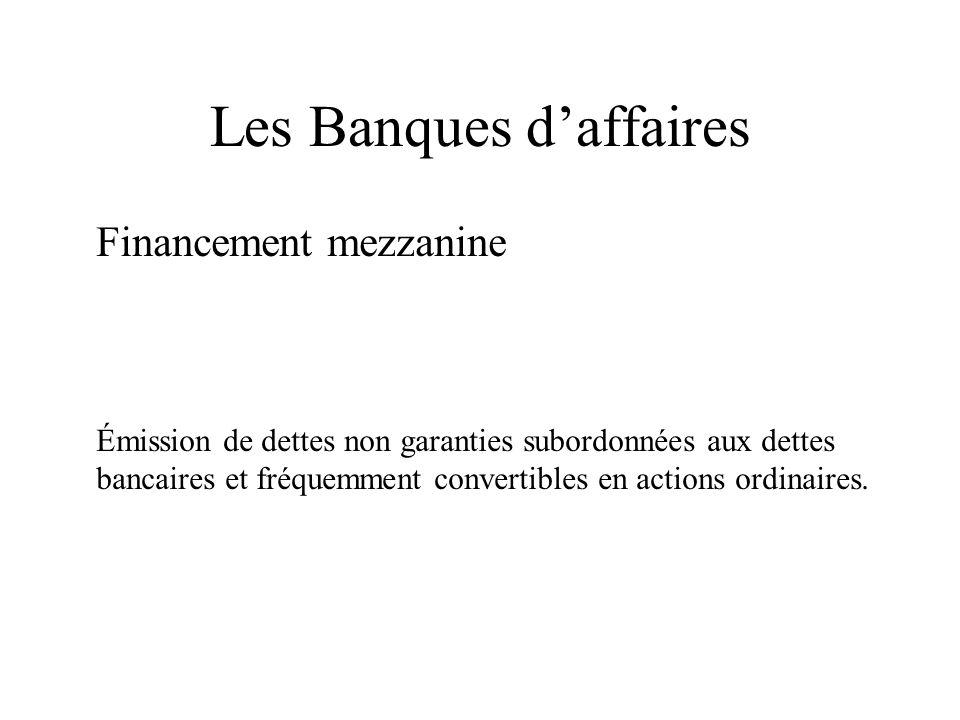Les Banques daffaires Financement mezzanine Émission de dettes non garanties subordonnées aux dettes bancaires et fréquemment convertibles en actions ordinaires.