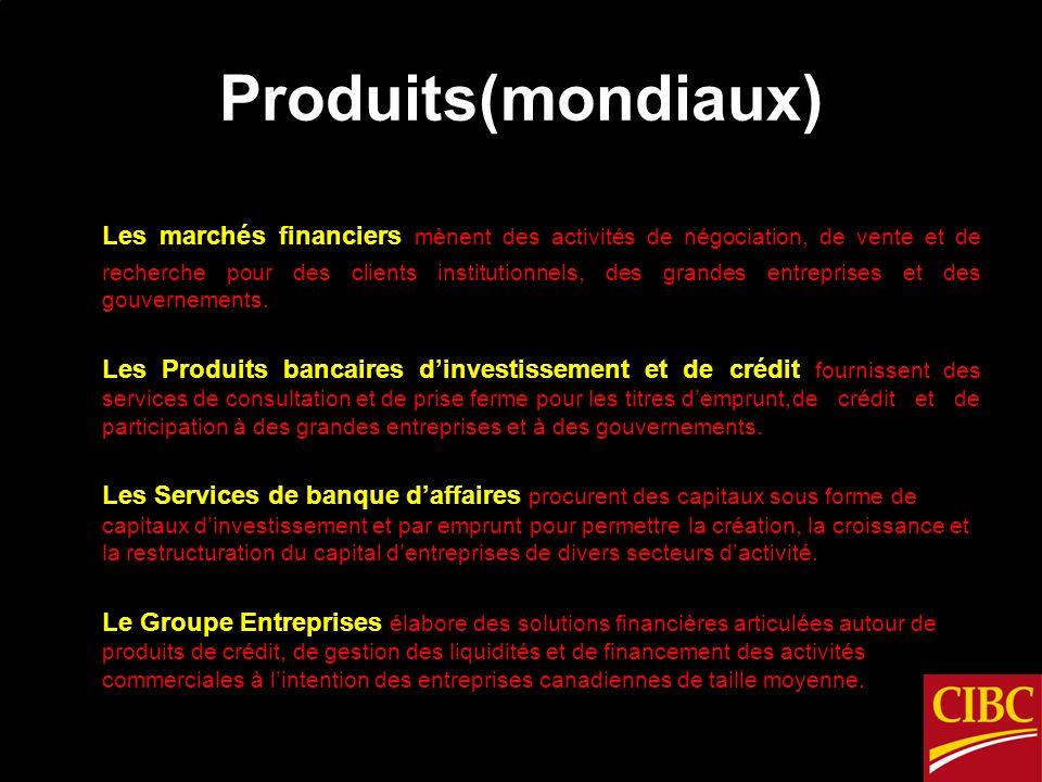 Produits(mondiaux) Les marchés financiers mènent des activités de négociation, de vente et de recherche pour des clients institutionnels, des grandes entreprises et des gouvernements.