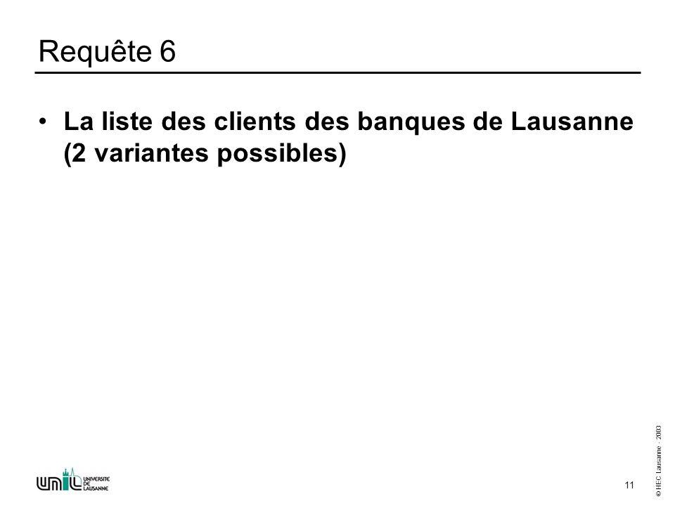 © HEC Lausanne - 2003 11 Requête 6 La liste des clients des banques de Lausanne (2 variantes possibles)