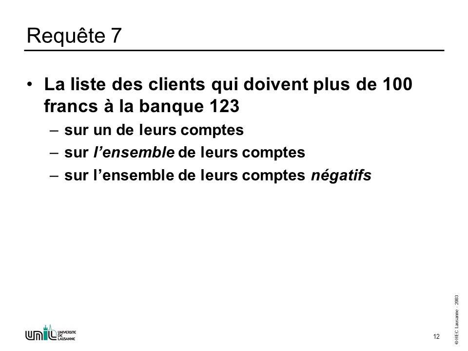 © HEC Lausanne - 2003 12 Requête 7 La liste des clients qui doivent plus de 100 francs à la banque 123 –sur un de leurs comptes –sur lensemble de leur