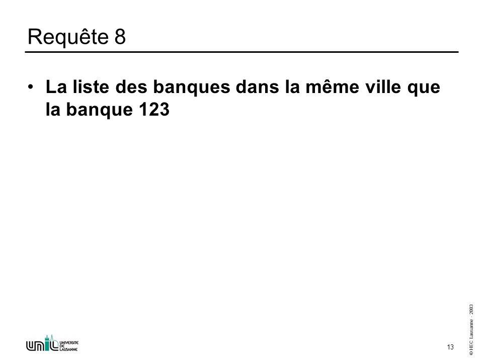 © HEC Lausanne - 2003 13 Requête 8 La liste des banques dans la même ville que la banque 123