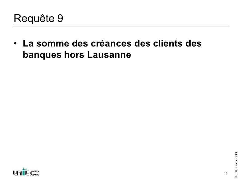 © HEC Lausanne - 2003 14 Requête 9 La somme des créances des clients des banques hors Lausanne